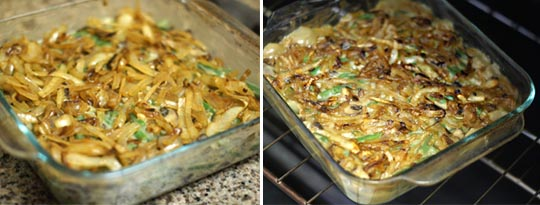 green bean casserole with carmelized onions on top