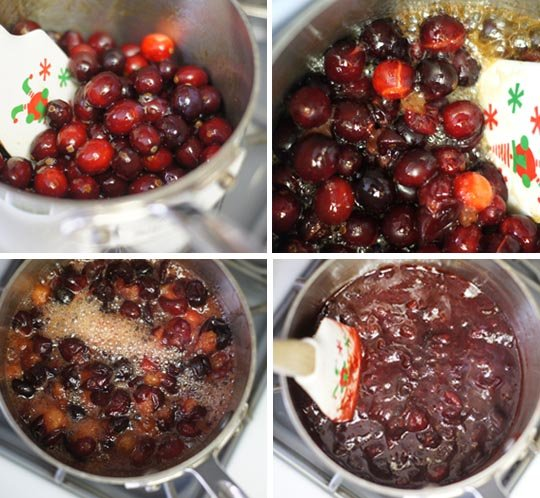 mixing cranberries in a pot