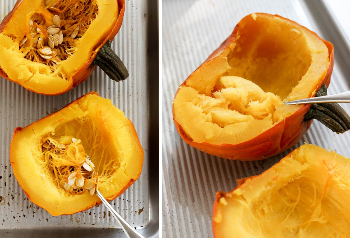 removing seeds from whole cooked pumpkin