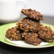 Plate of No-bake chocolate cookies