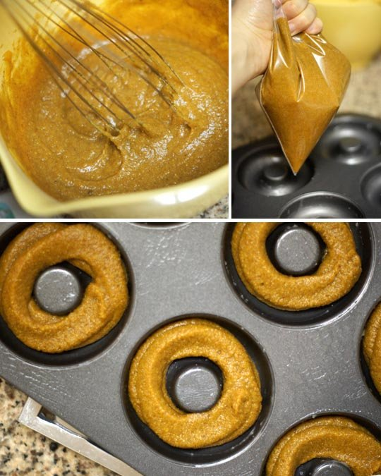 pumpkin spice donut dough put into a pan