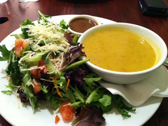 bowl of soup and salad