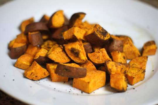 roasted sweet potato chunks on a plate