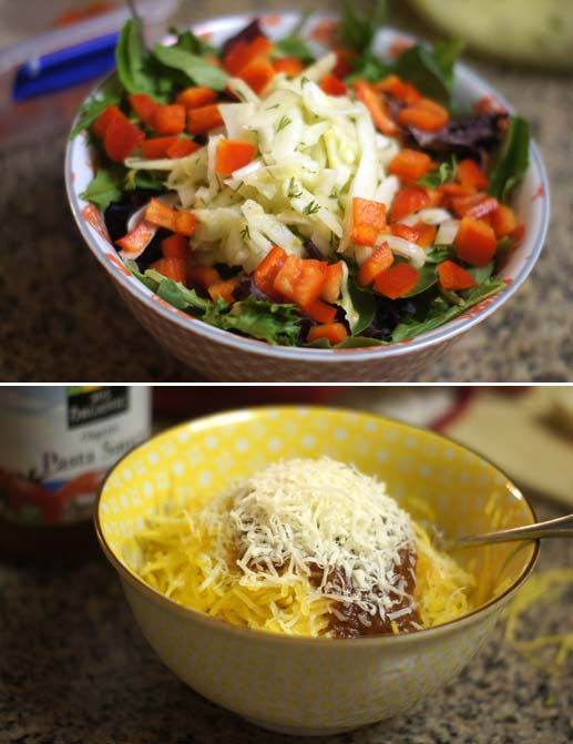 bowl of salad and a bowl of spaghetti squash with sauce in a bowl