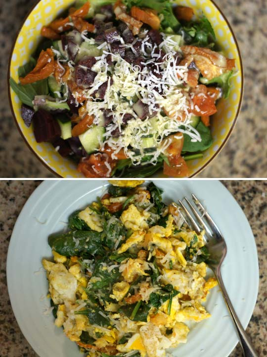 salad in a bowl and a plate of scrambled eggs and spinach