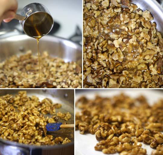 maple glaze poured over walnuts
