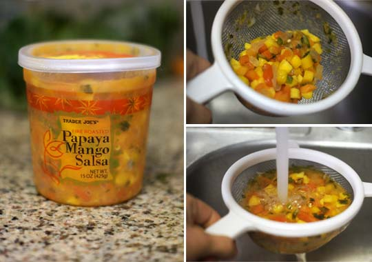 container of papaya mango salsa