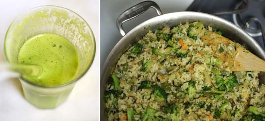 smoothie in a glass and vegetable and quinoa dish in a pan