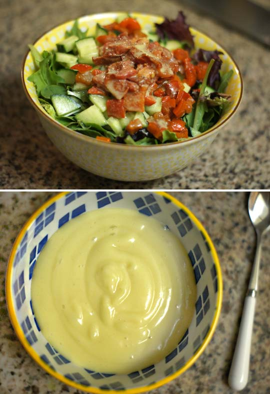 a bowl of salad and a bowl of ginger coconut yam pudding