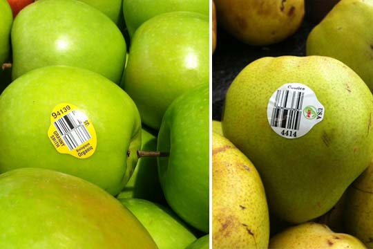 produce stickers on apples and pears