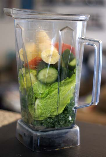 green lemonade ingredients in a blender