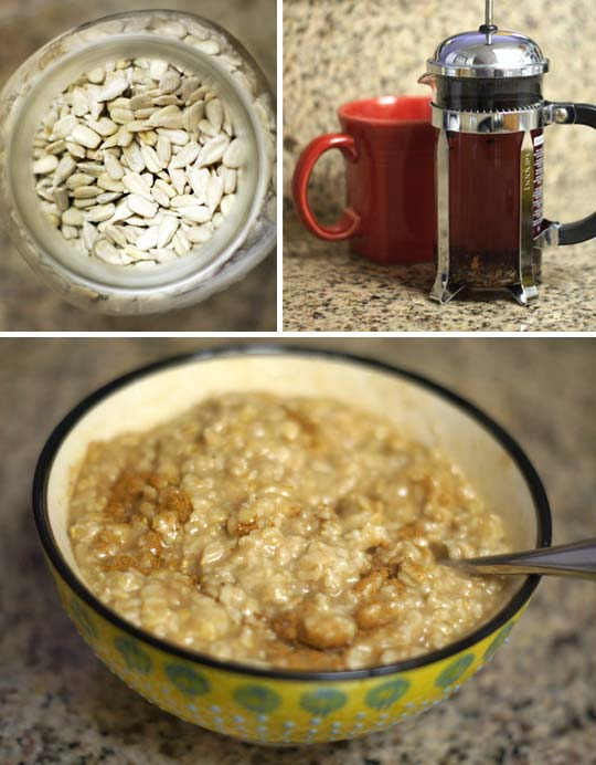 sunflower seeds in a container, brewed tea, and a bowl of cooked oats