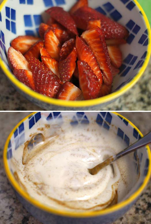 sliced strawberries and yogurt in a bowl