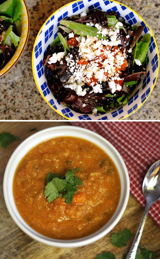 salad in a bowl and a bowl of mexican chicken soup
