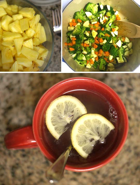 pineapple chunks, cooking mixed veggies, and a cup of tea with lemon slices