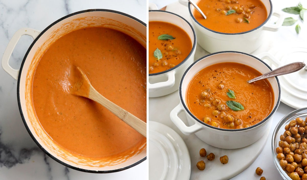 soup simmered in pot and served with chickpeas on top