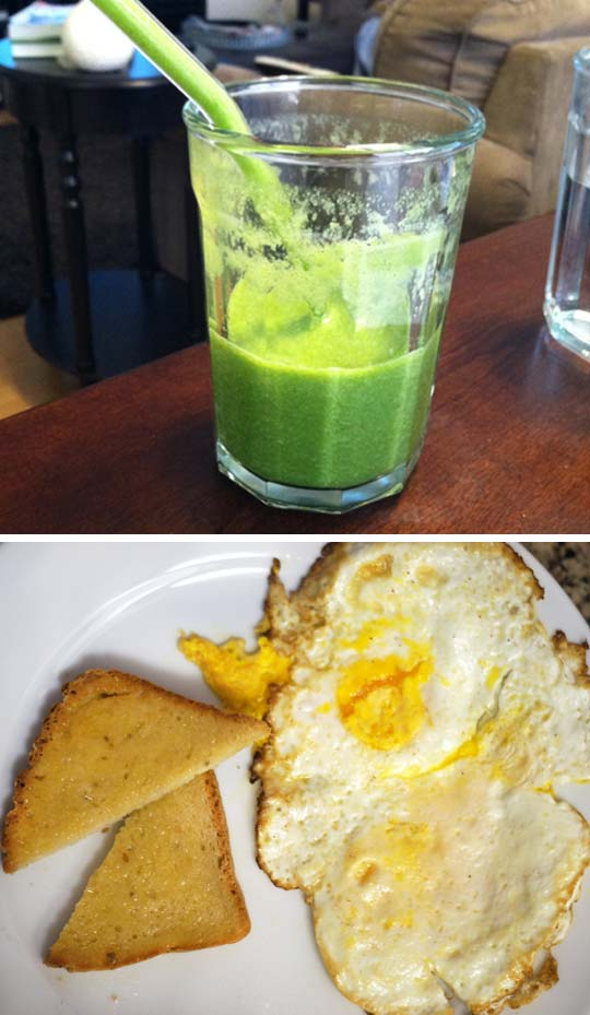 green smoothie in a glass and a plate of fried eggs with toast