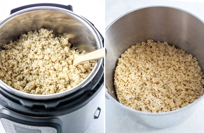 cooked quinoa in the instant pot and stove