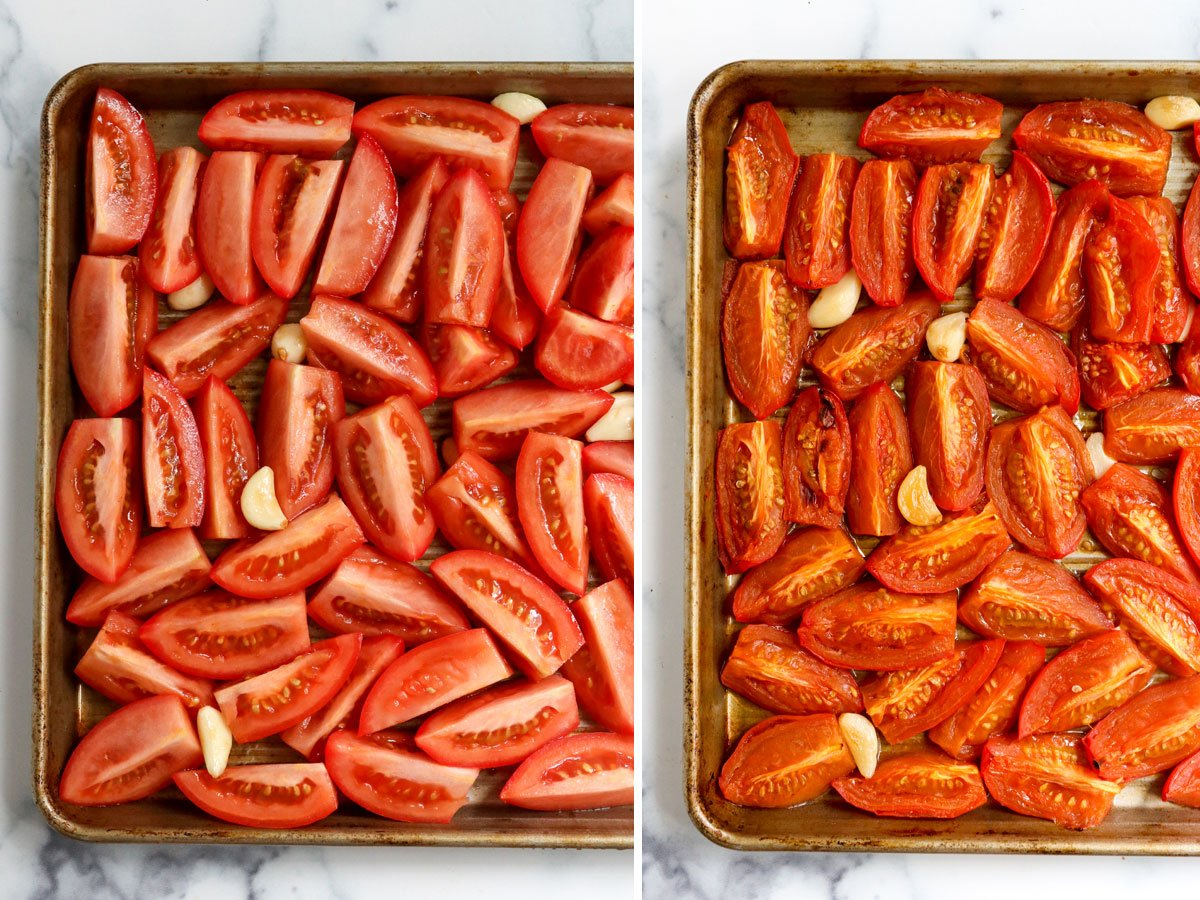 tomatoes before and after roasting on pan