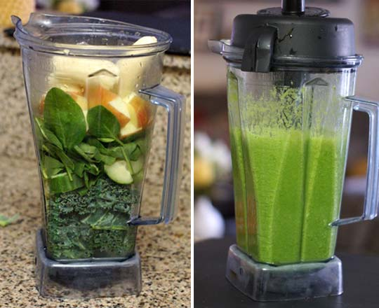 green smoothie in a blender