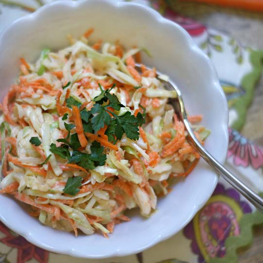 creamy coleslaw in a bowl