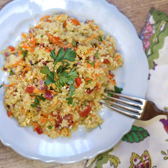citrus basil quinoa salad on a plate