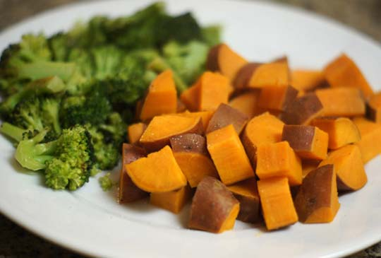 sweet potato chunks and broccoli on a plate
