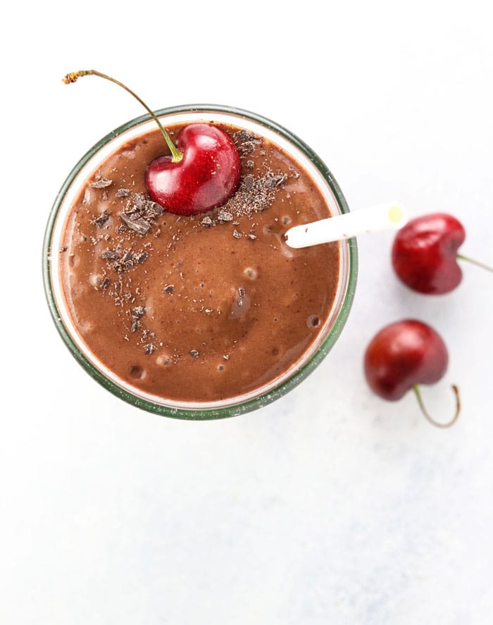 This Cherry Chocolate Smoothie packs a sneaky serving of avocado!