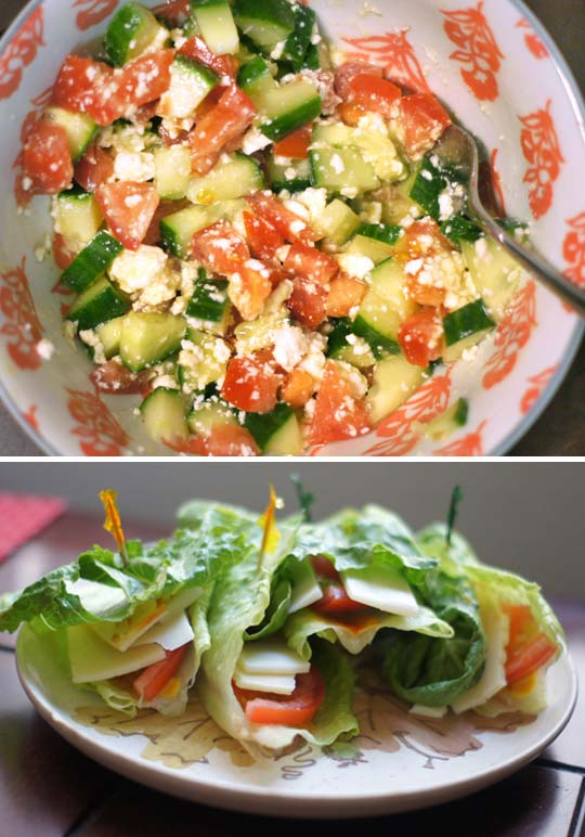 salad wraps on a plate