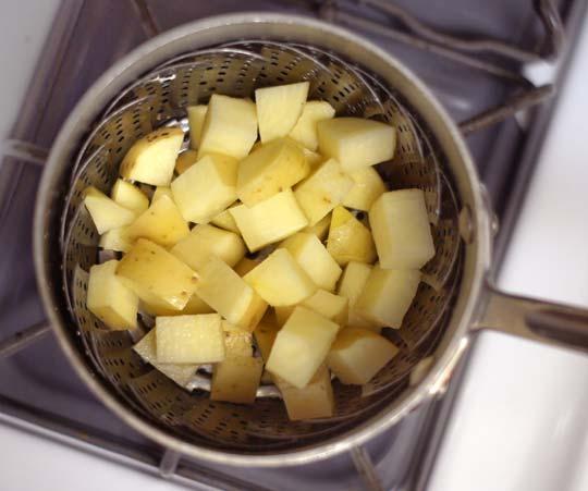 steamed white sweet potato chunks