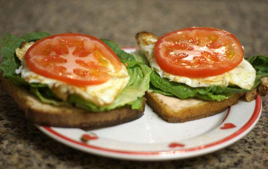 toast with lettuce, fried egg, and tomato on top