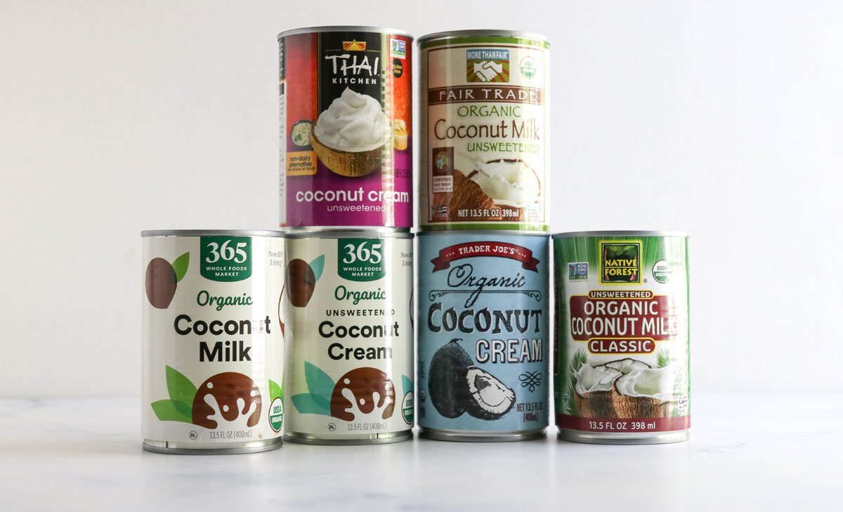 6 brands of coconut milk on counter