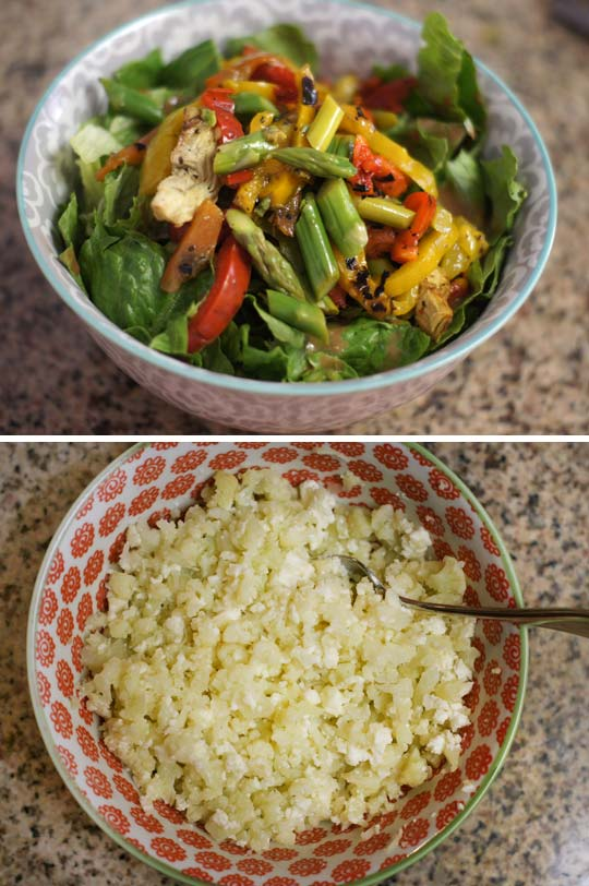 salad and a bowl of steamed cauliflower