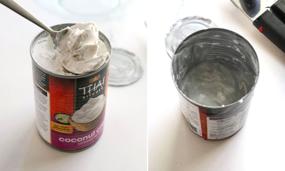solid coconut cream scooped out of can