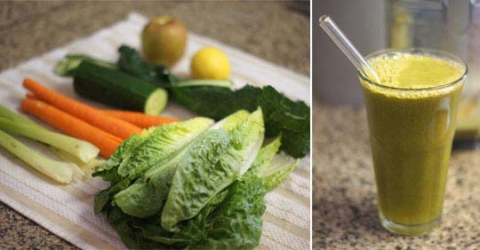 vegetables and glass of green juice