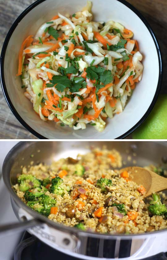 salad in a bowl and quinoa stir fry