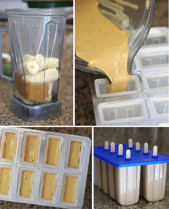 making peanut butter banana ice pops