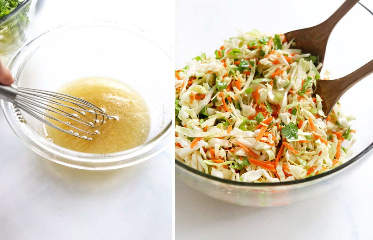 cabbage salad dresing mixed in bowl