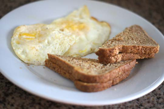 eggs and toast on a plate