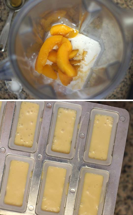 making peaches and cream ice pops