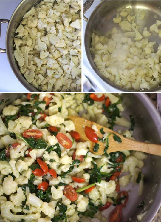 making greek cauliflower pasta salad