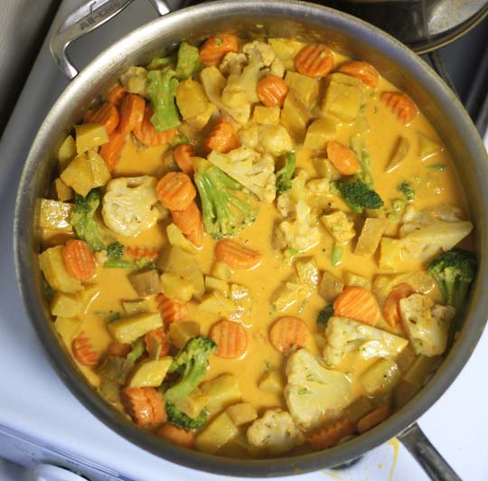 coconut curry in a pan
