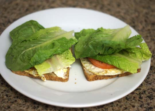 grain-free toast with egg, lettuce, and tomato