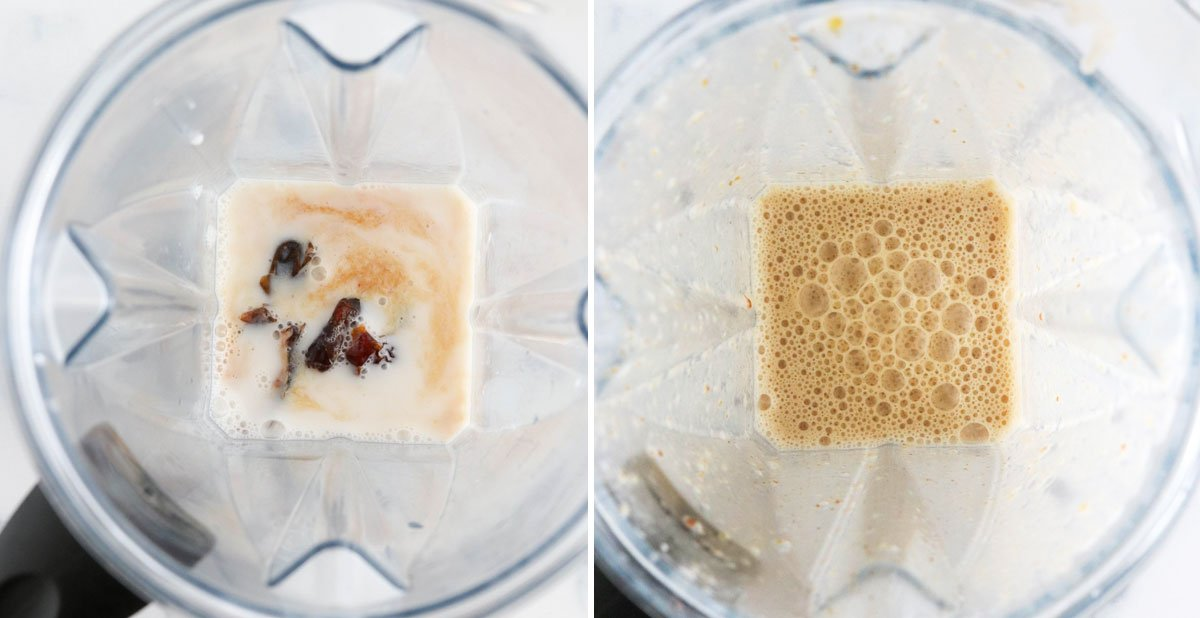 dates and almond milk in blender