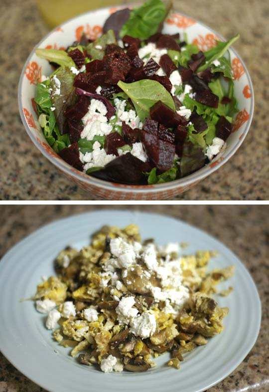 bowl of salad and a plate with scrambled egg with cheese on top
