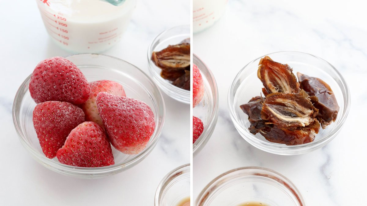 frozen strawberries and dates in bowls