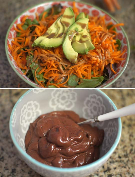 salad in a bowl and a bowl of cherry avocado pudding