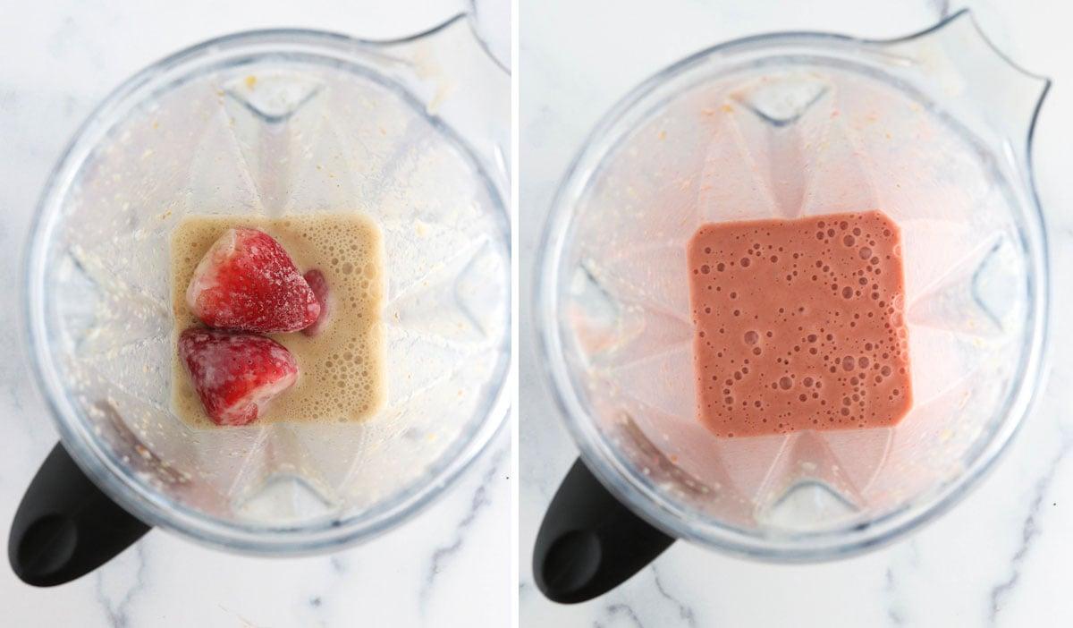 frozen strawberries added to blender