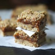 stack of raw date squares