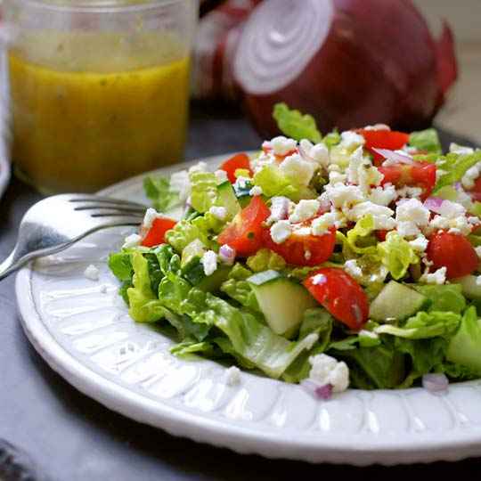 salad with classic greek salad dressing